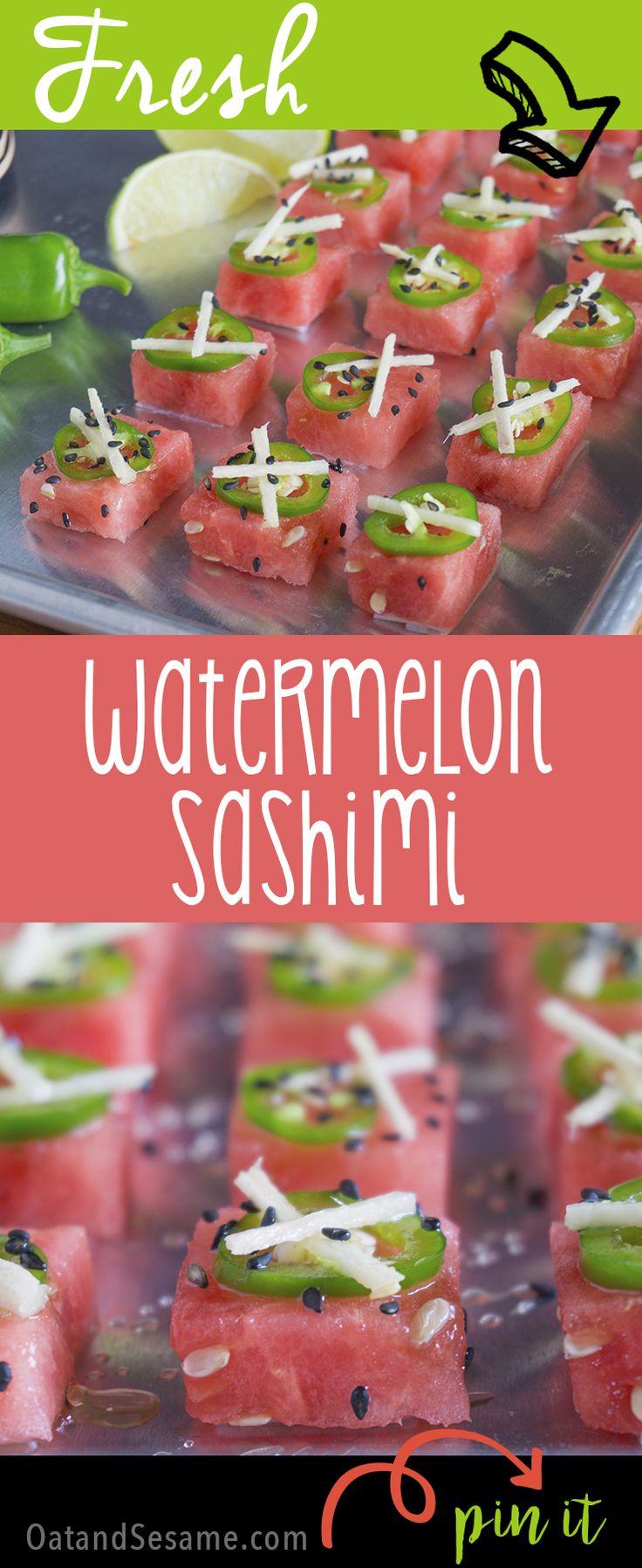 Fresh watermelon sashimi! A beautiful party appetizer or fun snack! | recipe at OatandSesame.com