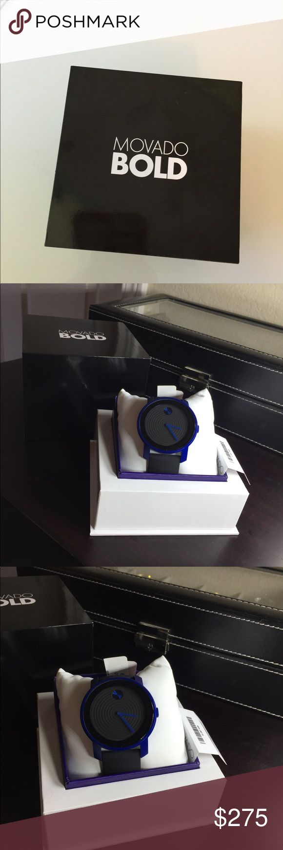 NWT Movado Bold Blue Unisex Watch Excellent color bright blue with black rubber  Band adjustable  FAce 1 5/8  $450 Movado Accessories Watches