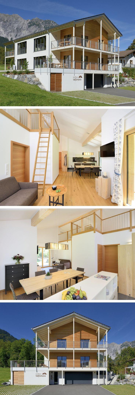 Mehrfamilienhaus moderner Alpenstil - Landhaus Valfontana Baufritz - Fertighaus mit Satteldach bauen Grundriss modern offen - HausbauDirekt.de