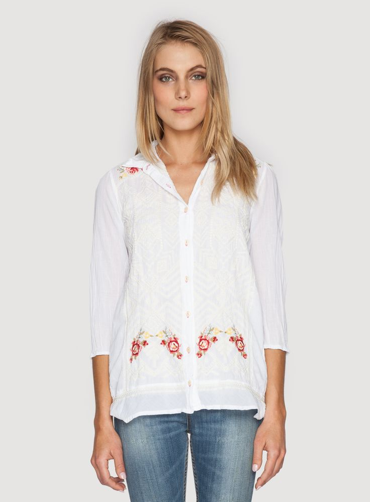 Johnny Was Clothing 3J embroidery Helen 3/4 Sleeve Poet Shirt in White