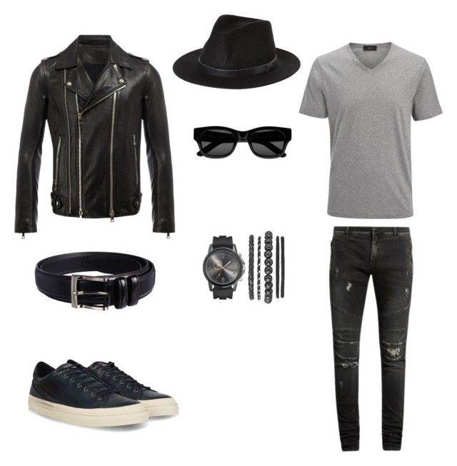 """Лук#1"" by hyzirt on Polyvore featuring Balmain, Joseph, Brixton, Napapijri, Sun Buddies, Florsheim, men's fashion и menswear"