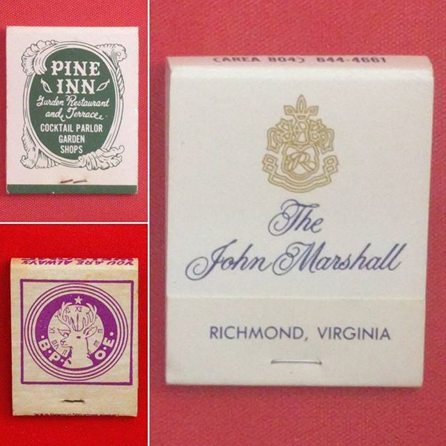 Still going through the box of matchbooks I found at Mother Tucker's Antiques. My favorite by far is one from the John Marshall Hotel because I worked there in college! It was fate...this box was meant to be mine ❤️❤️ #johnmarshall #vintagematchbooks  #thejohnmarshallhotel #johnmarshallhotel #matchbook #pineinn #carmelbythesea #bpoe #elkslodge #elks #vintagehotel #vintage #antiques #richmondva #rva #vintagerichmond #richmond #carmellocals #montereybaylocals - posted by Hey Friend Vintage and…