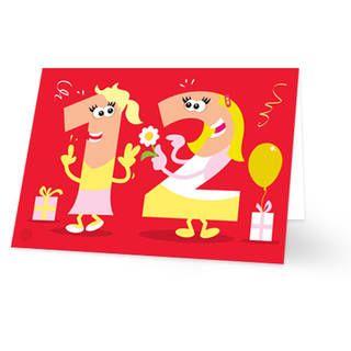 Een verjaardagskaart voor een meisje dat 12 is geworden. Op de kaart staan twee poppetjes in de vorm van het cijfer 12. Beide meisjes hebben blonde haren. De achtergrondkleur is rood. De binnenkant van deze verjaardagskaart is helemaal wit, daar kun je zelf nog teksten en foto's of allerlei leuke afbeeldingen aan toevoegen.