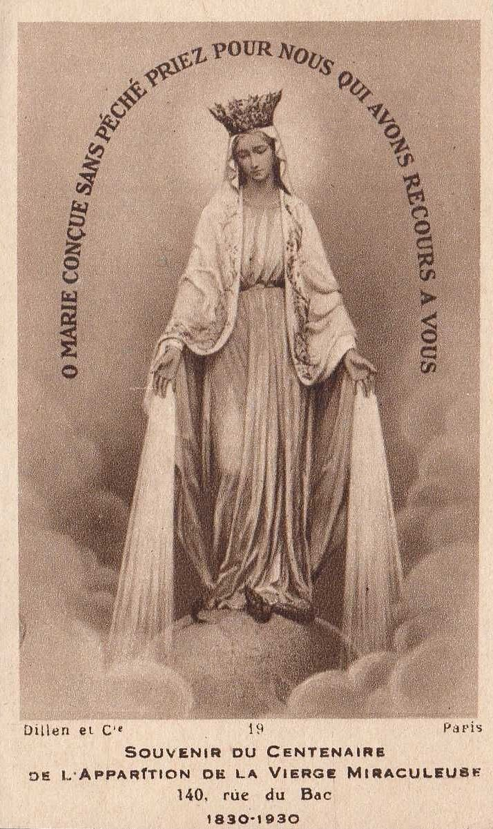 "allaboutmary: "" A French holy card from 1930, the centenary of the apparition of Our Lady of the Miraculous Medal in Rue du Bac, Paris. """