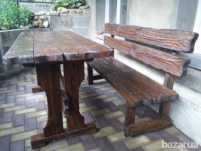 Продаем стол со скамейкой из натурального дерева брашированый. Красивый, прочный. массивный. Размеры: стола 1500х600х730 мм скамейка 1500х440х820...