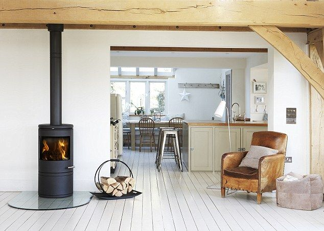 Put a wood-burning stove into your fireplace and it could add value to your property as well as saving money on heating bills | Daily Mail Online