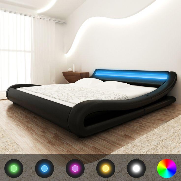 Lit-en-cuir-avec-une-bande-Led-24-cle-telecommande-cadres-de-lit