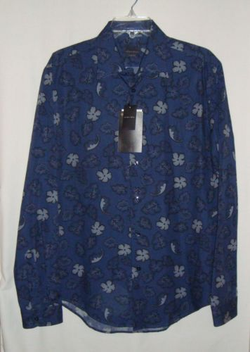 NEW-w-Tags-ZARA-MAN-Slim-Fit-Blue-Floral-Cotton-Long-Sleeve-Mens-Shirt-Size-L