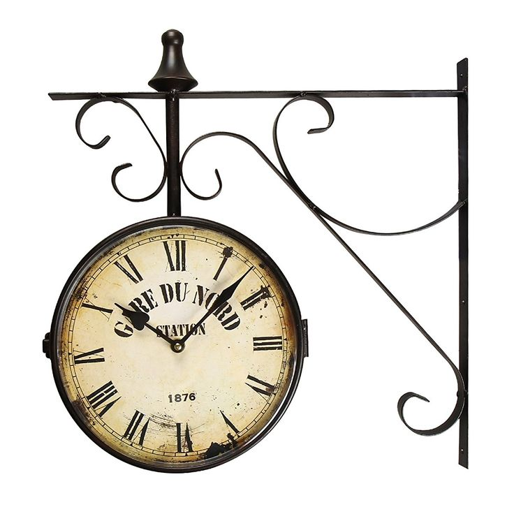 "Adeco Black Iron Vintage-Inspired Round ""Gard Du Nord Station"" Double-Sided Wall Hanging Clock with Scroll Mount Home Decor"