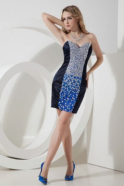 Luxury Sweetheart Sheath-Column Cocktail Dress wr0953 - http://www.weddingrobe.co.uk/luxury-sweetheart-sheath-column-cocktail-dress-wr0953.html - NECKLINE: Sweetheart. FABRIC: Satin. SLEEVE: Sleeveless. COLOR: Blue. SILHOUETTE: Sheath/Column. - 127.59