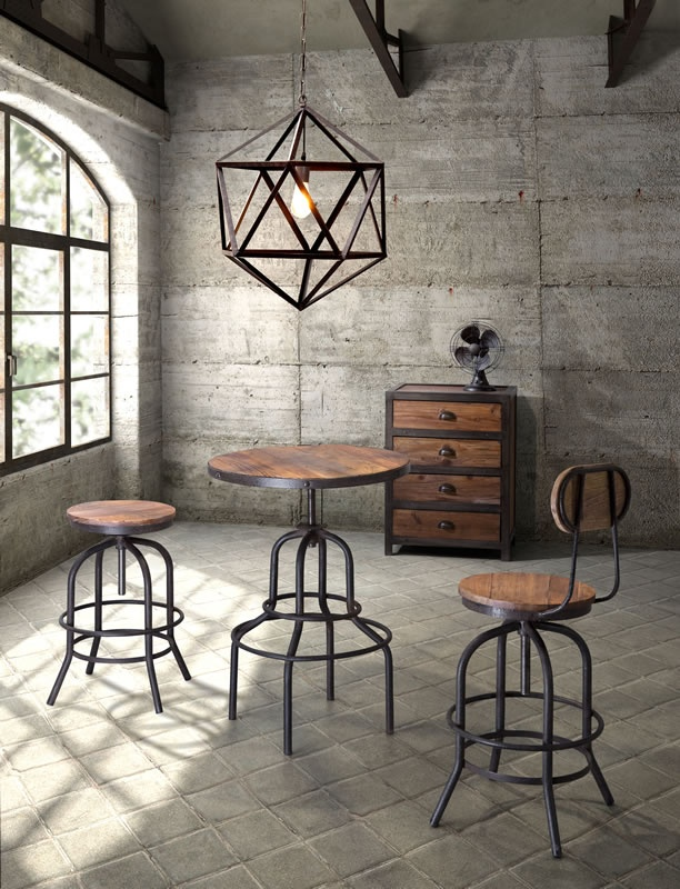 Zuo Mod - Amethyst Ceiling Lamp Small, Fort Mason 4 Drawer Cabinet, Twin Peaks Bar Chair, Twin Peaks Barstool