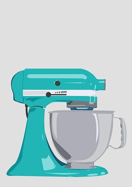 Kitchen Aid Mixer Poster Print A4 / 8x10 - Teal. $11.50, via Etsy.