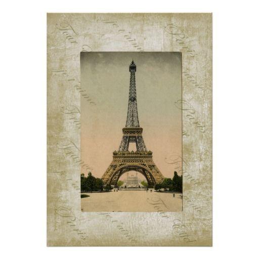 Vintage Style Eiffel Tower Art Poster Digital Art