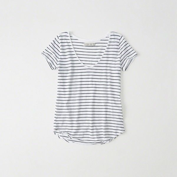 Abercrombie & Fitch Relaxed V-Neck Tee ($18) ❤ liked on Polyvore featuring tops, t-shirts, white stripe, cotton blend t shirts, striped top, white v-neck tees, stripe tee and white v neck t shirt