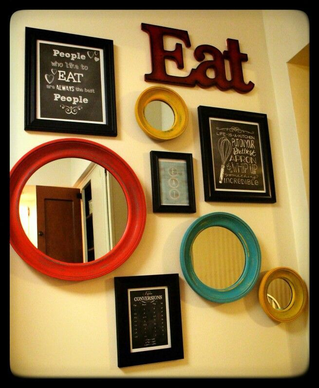Kitchen wall decor yellow aqua and red kitchen diy for Cute yellow kitchen ideas