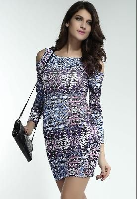 Unusual Aztec Print with Cold Shoulder Bodycon Dress