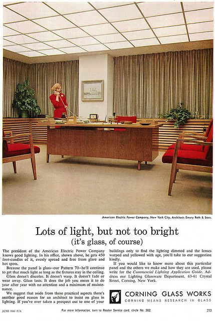 Corning Glass Ad 1960.  Offices did look like this in the early 1960s.  By the end of the 60's they looked beat up.