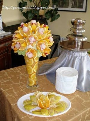 Fruit Carving - Vegetable Carving - Fruit Carving Arrangements and Food Garnishes: Wedding Watermelon With Birds, Evergreen Bar