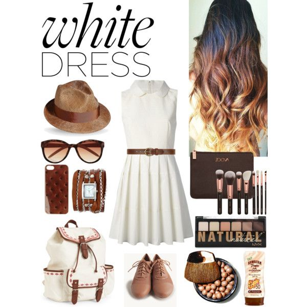 """""""style a white dress"""" by michellezee on Polyvore"""