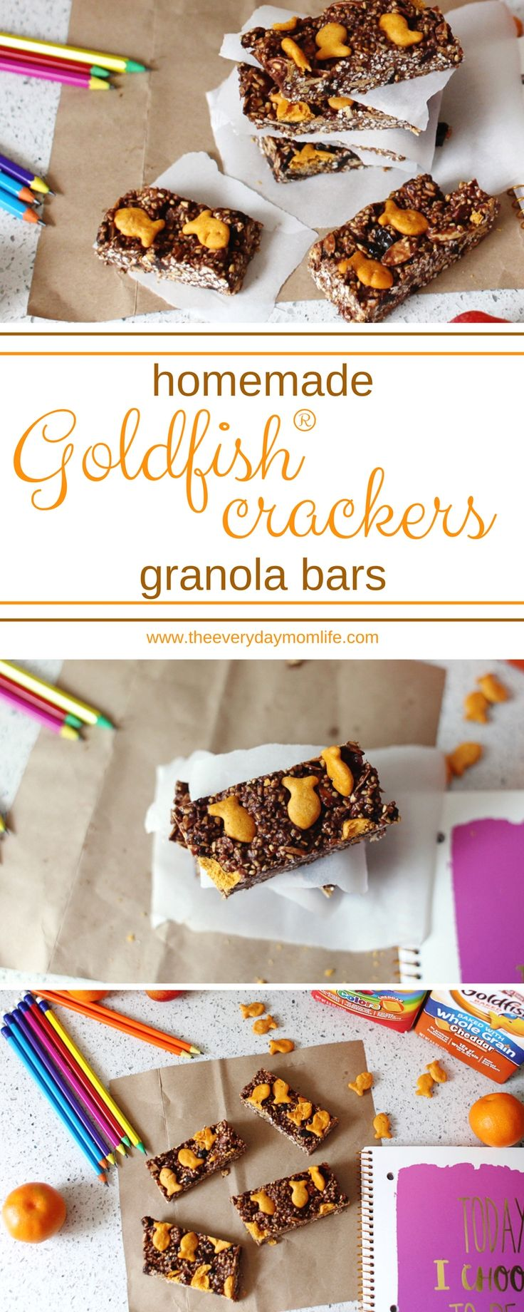 Serve up smiles at school with these homemade granola bars for kids. And grab FREE lunchbox printables to let your kids know you're thinking of them. #granolabars #ad #GoldfishLunchSmiles #lunchboxprintables