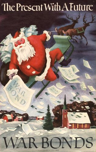 In WWII, the US government encouraged the purchase of war bonds for Christmas presents. Read more about Christmas in WWII on author Sarah Sundin's blog.