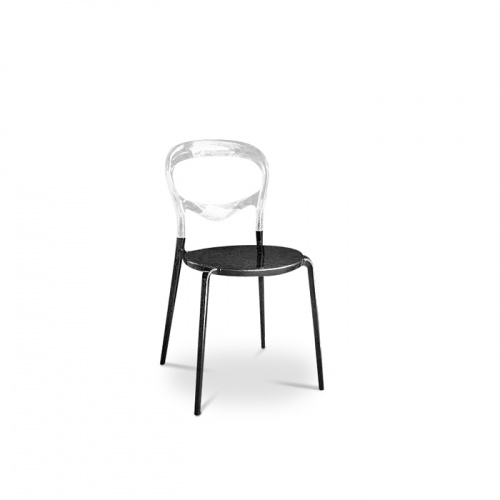 Lina (balloon-style) chair in black metal and clear acrylic.