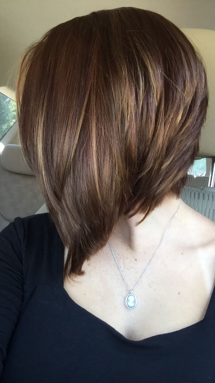 Caramel, auburn, and brown angled bob