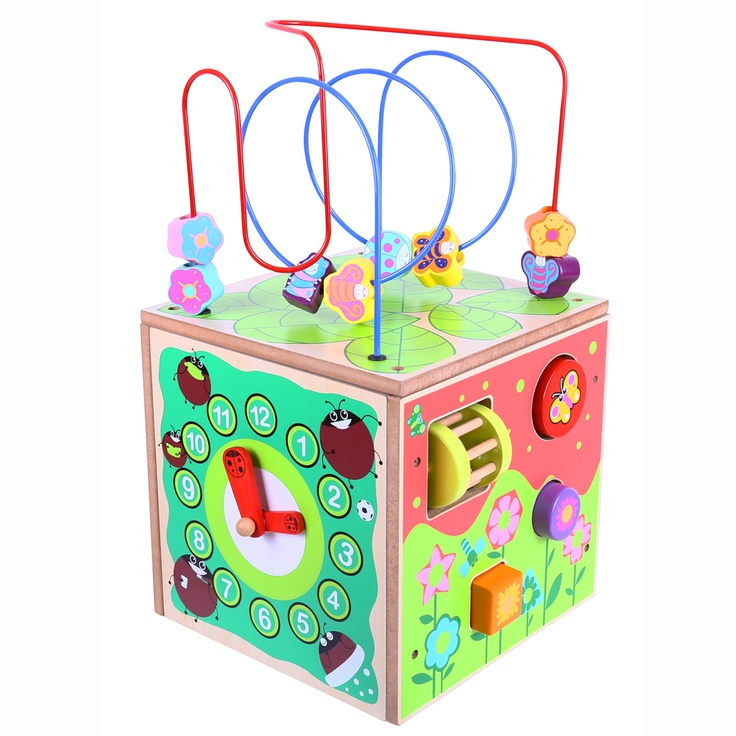 The colourful, curly bead frame on top of this activity cube is just where the fun begins! Each side is packed with excitement - there's a clock with moveable hands, plus lots of brightly coloured objects to twist, spin, squeeze and click across each surface! Sure to provide endless fun, educational play sessions. Ages 3 years and up. 1 play piece. http://shop.bigjigstoys.co.uk/p/small-activity-cube