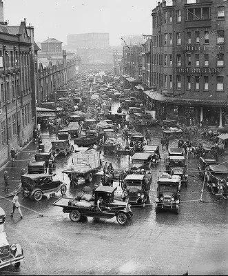 Australia. Traffic jam in Hay St., Sydney, 1930s