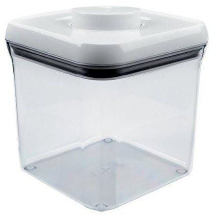 OXO International 1071399 Pop Food Storage Container by OXO International. $16.99. Garage, Sewing Room, Etc, Easy To Clean.. Ideal Size For Rice, Cookies, Crackers Or More. Unique Push Button System Creates An Airtight Seal With The Press Of A Button. 2.4 QT, Pop, Big Square Food Storage Container. Modular Stacking System, Also Use In Pantry. The OXO Good Grips pop containers are airtight, stackable, and space efficient, making it easy to keep your dry foods fr...