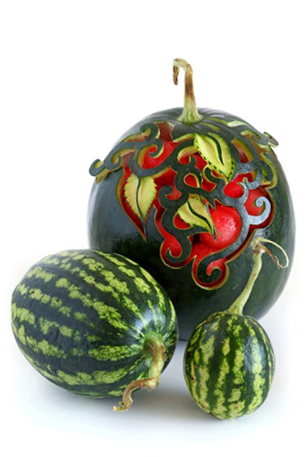 A posting of carved fruits and vegetables. This watermelon is my favorite.