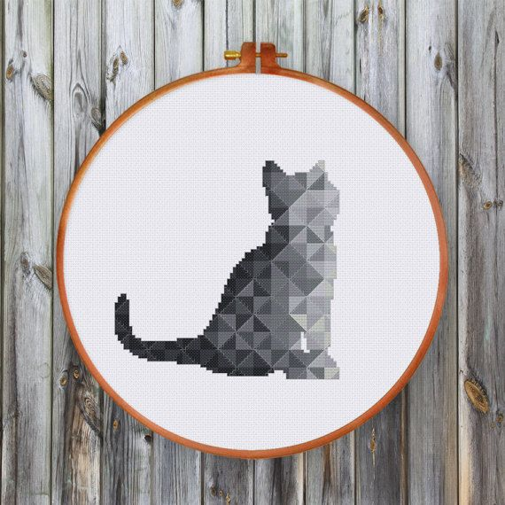 Nursery geometric cat cross stitch pattern Black Gray baby