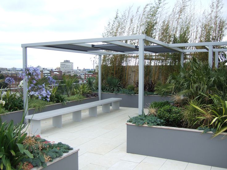 Pergola On Roof Garden Pinned To Design