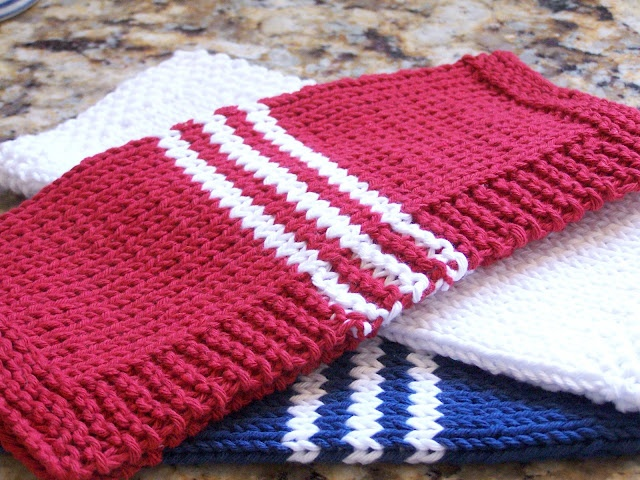 Cotton Knitted Dishcloth Pattern : Hand Knit French Stripe Dishcloth made with Eco cotton yarn. Red, White and B...