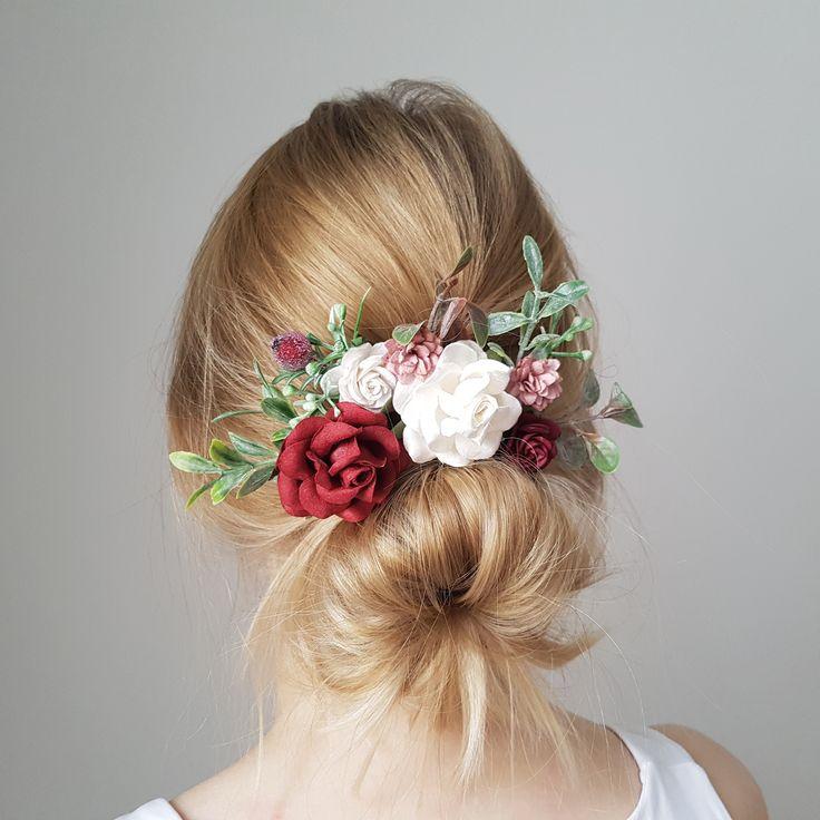 Burgundy dusty flower headpiece bridal burgundy headpiece
