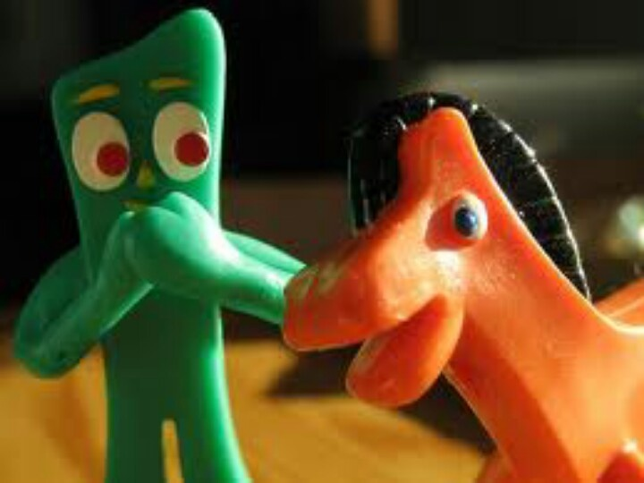 Gumby's principal sidekick is Pokey, a talking orange pony. His nemeses are the Blockheads, a pair of humanoid, red-colored figures with block-shaped heads, ...