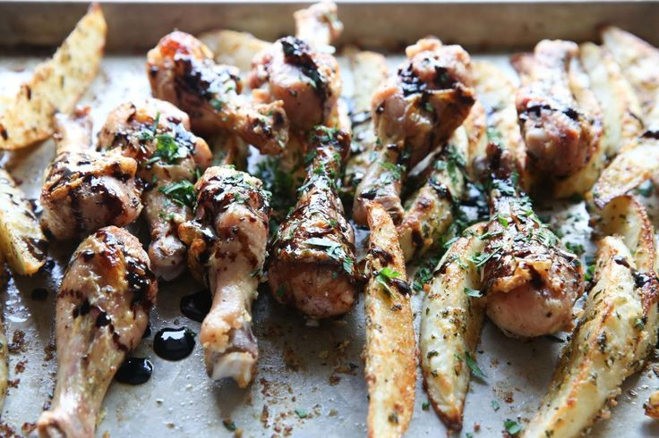 Balsamic Drumsticks with Parmesan Potatoes