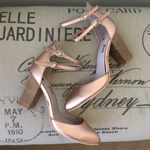Anthropologie Farlyrobin Vidigal Rose Gold Pumps ! Never been work! These Anthropologie Rose Gold pumps with wood heels and the perfect shoe to spice up a casual dress of jeans looks. They are slim fit, so for those with wider feet please take note! Heel height: 4 inches Anthropologie Shoes Heels