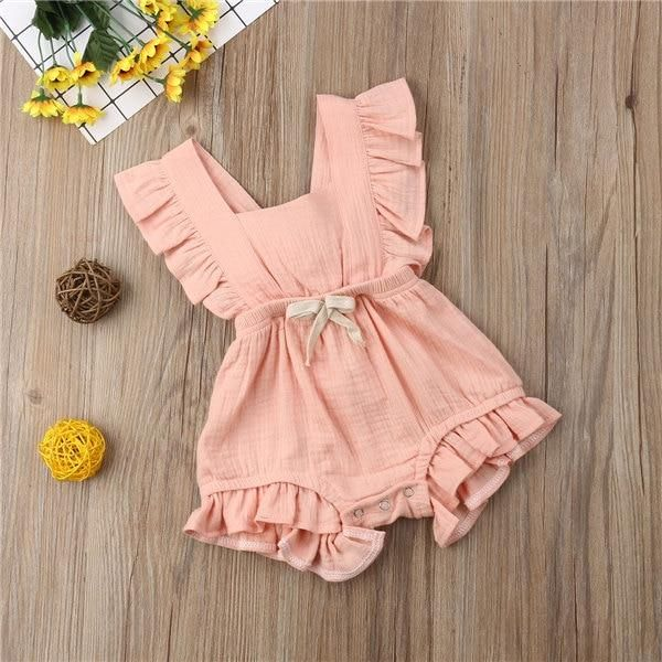 UK Newborn Infant Baby Girl Kids Clothes Ruffle Summer Romper Jumpsuit Outfits