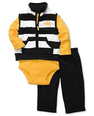Carter's Baby Set, Baby Boys 3-Piece Stripe Vest, Bodysuit and Pant Set - Kids - Macy's - $16