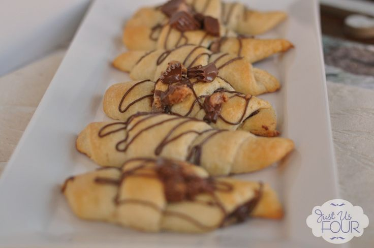 Peanut Butter Nutella Crescent Rolls #desserts #recipes #reeses