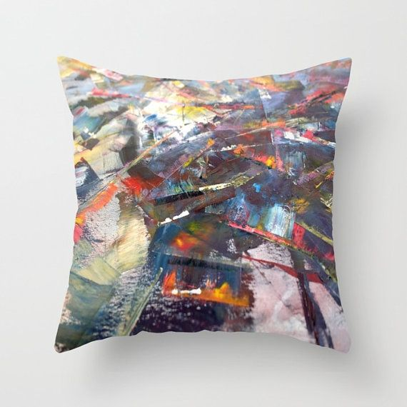 Statement cushion cover. Colorful pillow in yellow blue red