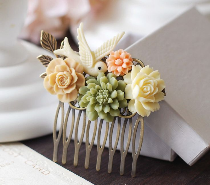 Wedding Hairpiece Sage Green Mocha Brown Peach Ivory Flower Ivory White Bird Antique Gold Brass Leaf Floral Collage Hair Comb Bridal Comb by LeChaim on Etsy https://www.etsy.com/listing/121054657/wedding-hairpiece-sage-green-mocha-brown