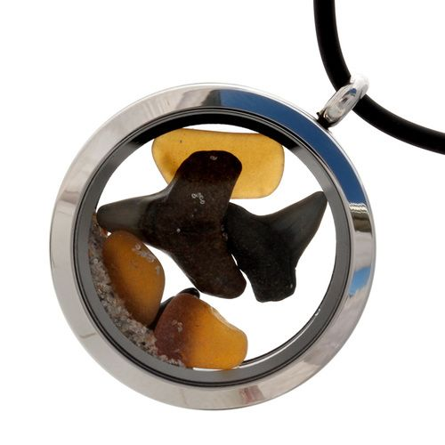 Shark Attack - Genuine Amber Sea Glass Locket With Real Sharks Teeth - Neoprene Cord INCLUDED