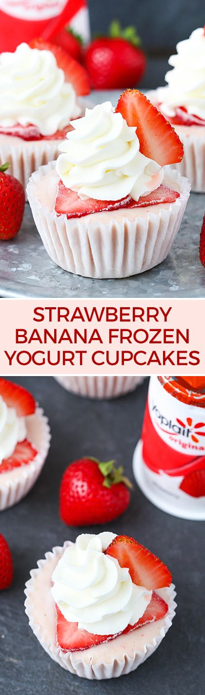 Strawberry Banana Frozen Yogurt Cupcakes! Just a few simple ingredients and so…