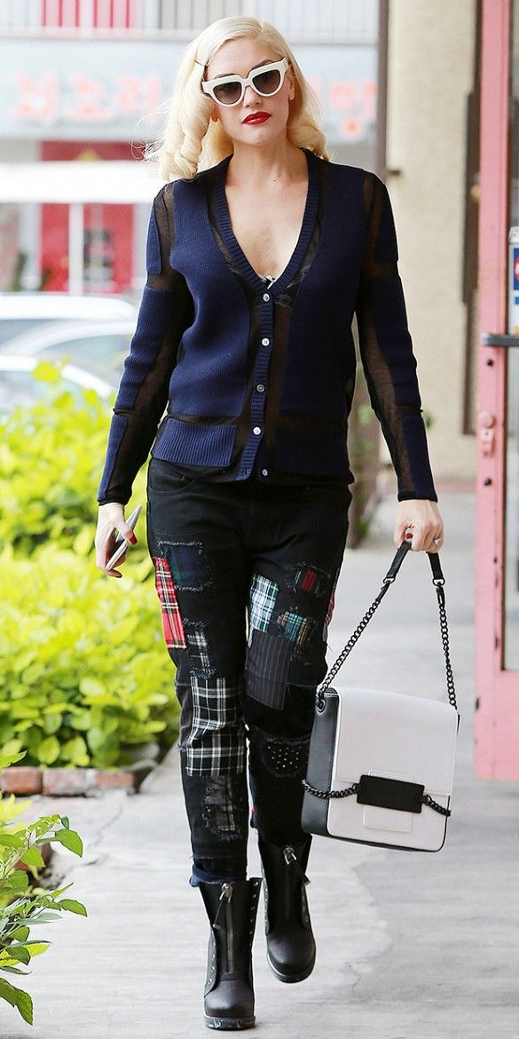 Loving Gwen Stefani's patchwork jeans, quirky Prada sunglasses, and booties.