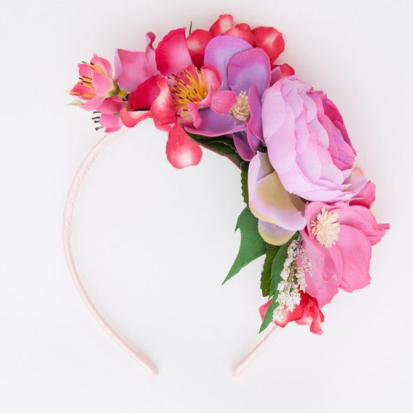Pink floral hair band