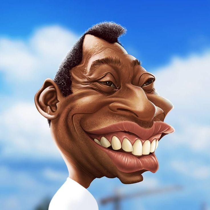 """Caricatura del ex-jugador de fútbol Brasileño, el gran """"Pelé"""", realizada por el artista F..."""