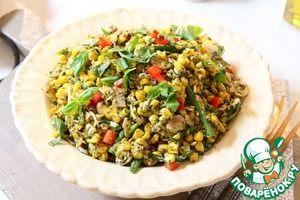 Оригинальный салат из жареной кукурузы с соусом Песто из базилика