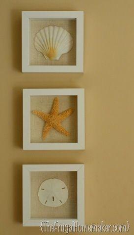 Beach inspired art {Sea Shell art} - The Frugal Homemaker